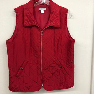 Christopher Banks Red Quilted Vest